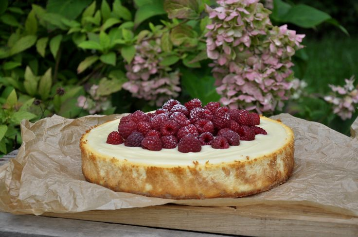 goat cheese cheesecake with white chocolate and raspberries