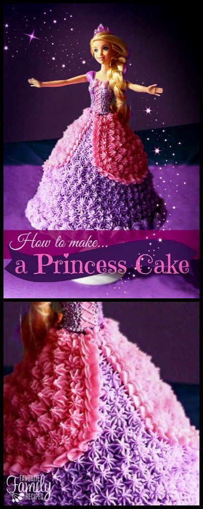 This Princess Birthday Cake or Barbie Birthday Cake is every little girl's dream cake! It is customizable to any Barbie size doll. via @favfamilyrecipz