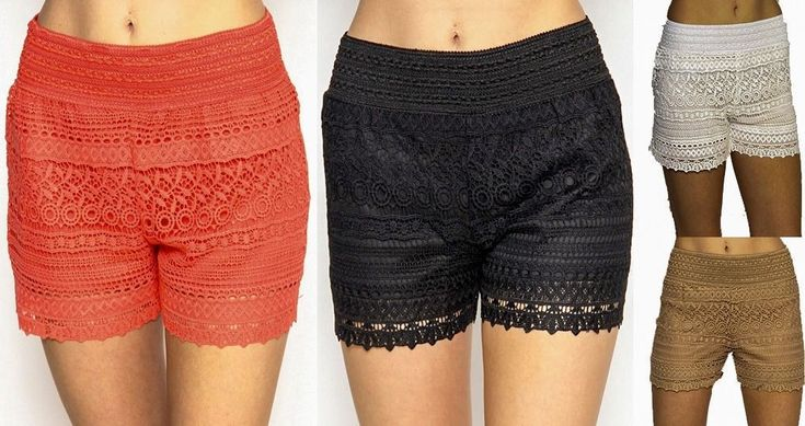 Chic Pull On Scallop Lace Crochet High Waisted Elastic Band Casual Mini Shorts