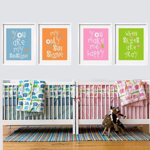 Habitaci n de beb s mellizos ni o y ni a quarto de beb s - Habitacion de bebe nina ...