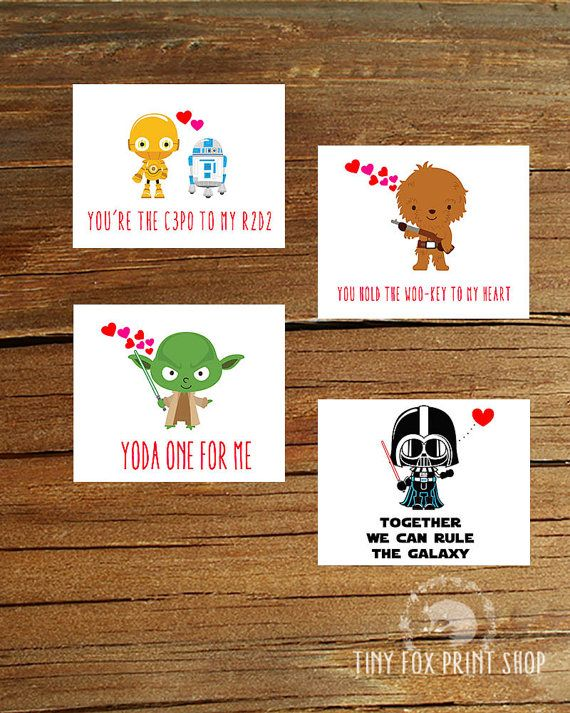 PRINTABLE Valentines STAR WARS: Set of 4