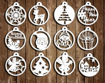 Christmas paper cut templates set of 12 PDF by ClareWillcocksArt