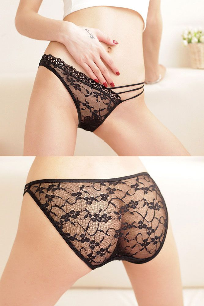 Transparent Female Lace Panty Black