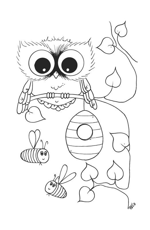 hey i noticed this page you sent me has an owl and bees i can color it all and you can hang th e owl on your christmas tree next to your - Cute Owl Coloring Pages Printable