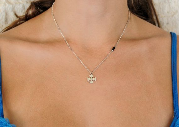 Sterling silver cross Onyx necklace 925 sterling by Wavejewels