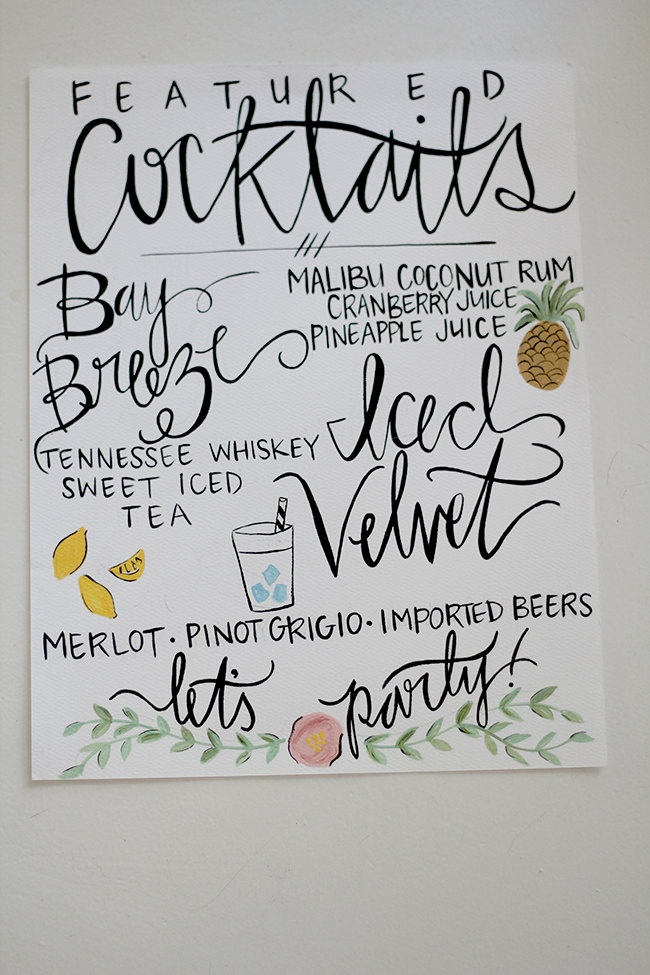 Hand painted cocktail sign for the wedding. I love this. I like the images. You could easily paint the basic shape with watercolors then use your calligraphy pen to complete it.