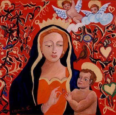 Madonna rossa - olio su tela (35x35 cm )