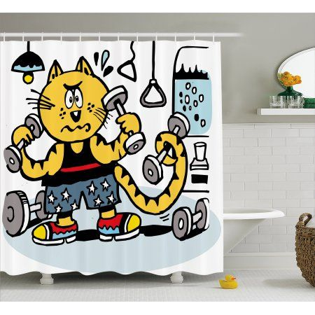 Fitness Shower Curtain Cartoon Style Cat Using Weights In Gym
