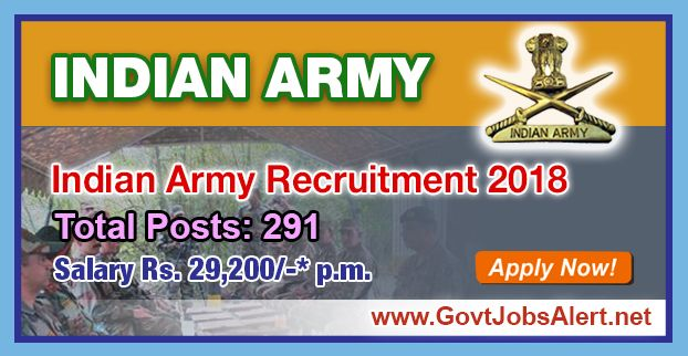Indian Army Recruitment 2018 - Hiring 291 Post Material Assistant Lower Division Clerk and Other Posts, Salary Rs.29,200/- : Apply Now !!!  The Indian Army Recruitment 2018 has released an official employment notification inviting interested and eligible candidates to apply for the positions of Material Assistant, Lower Division Clerk, Fireman, Tradesman Mate and MTS. The eligible candidates may apply to the posts in the prescribed format available in official website or in