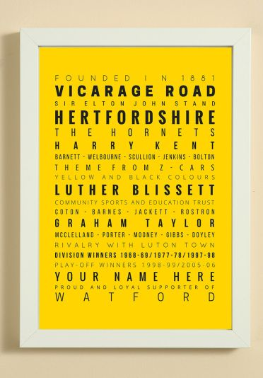 Watford Football Club Word Art Design Print - Words, Names And Facts Associated With Watford FC - In White Or Black A4 Box Frame