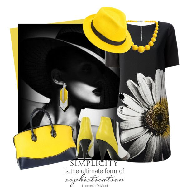 Simplicity....  My yellow hat has been inspiring some Polyvore users...