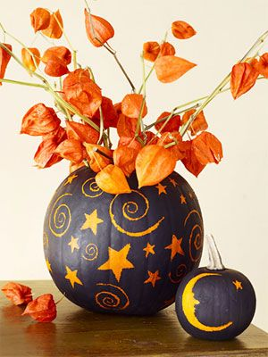 Cool Idea: Pumpkin Ideas, Sprays, Decor Ideas, Stars, Halloween Pumpkin, Pumpkin Decor, Pumpkin Vase, Matte Black, Paintings Pumpkin