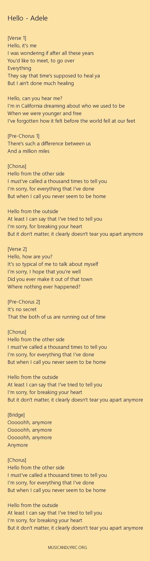 Adele - Hello lyrics, pdf - Musicandlyrics