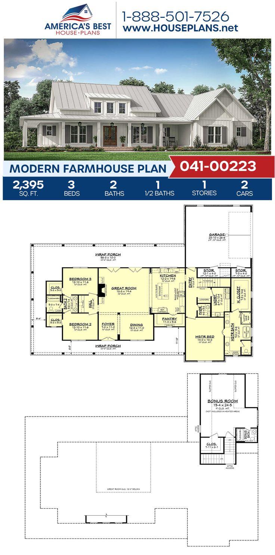House Plan 041 00223 Modern Farmhouse Plan 2 395 Square Feet 3 Bedrooms 2 5 Bathrooms In 2020 Modern Farmhouse Plans Porch House Plans Farmhouse Plans