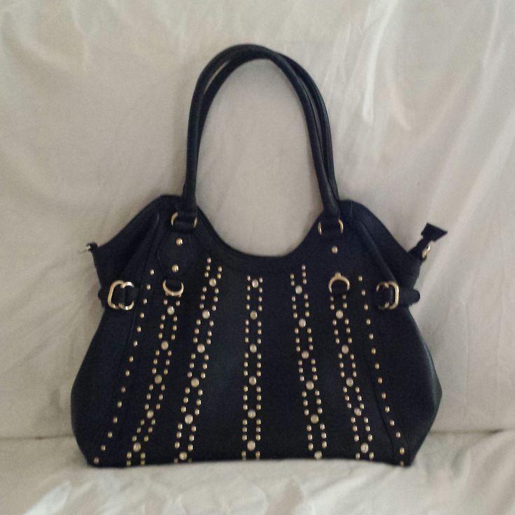 """AGTS"" Logo  Straight Line Diamantes and Studs Handbag  $80.00"