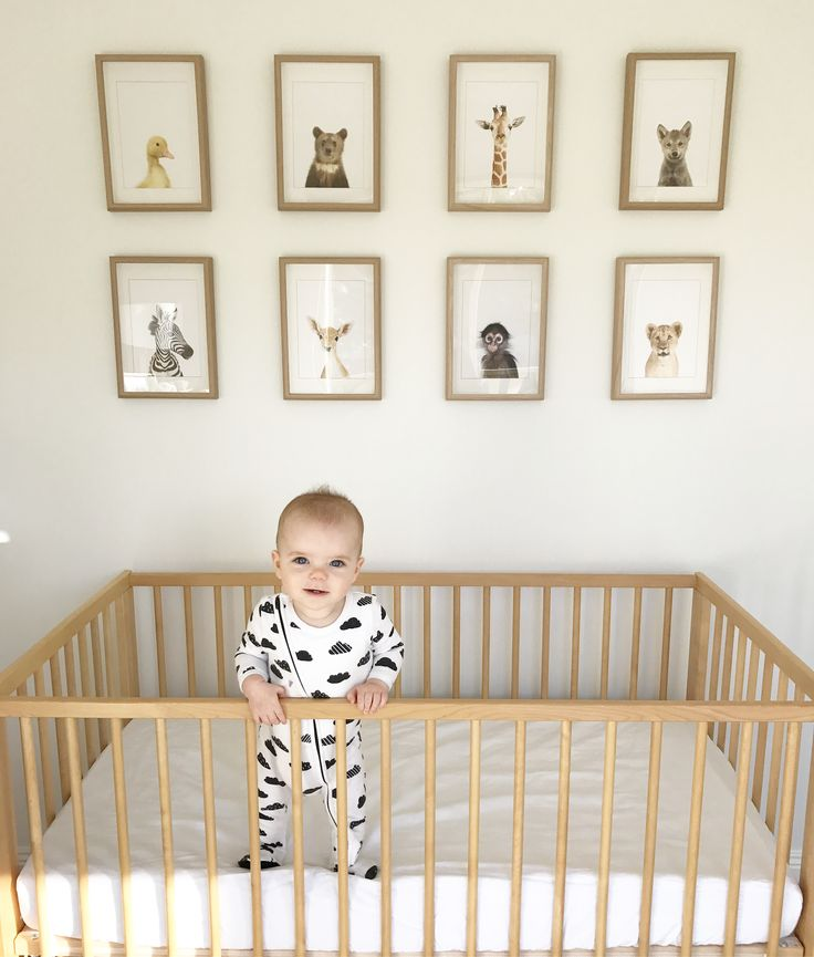 Spencer's neutral nursery featuring the stunning The Animal Print Shops Little Darling Prints and IKEA Gulliver cot