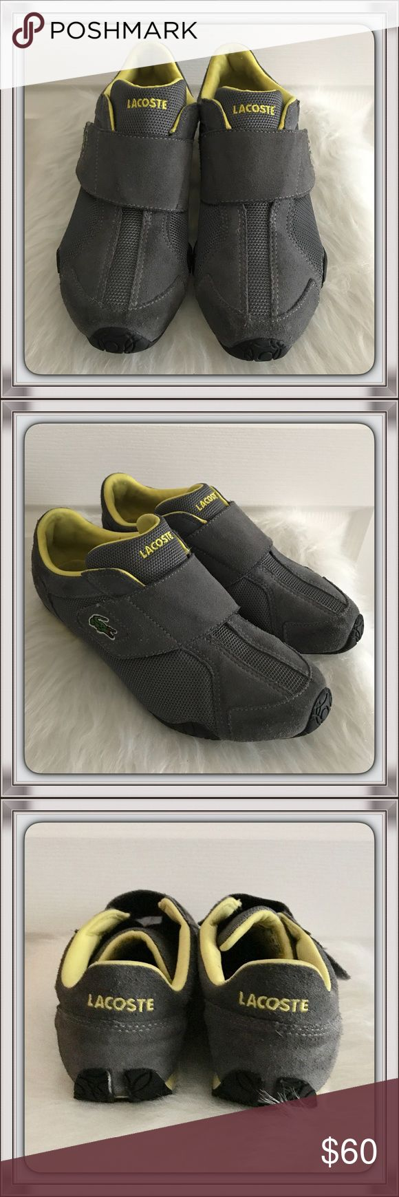 Lacoste Sport Sneakers Awesome Lacoste Sport Sneakers (Women's) made of gray suede with yellow accents. Gently worn. Excellent condition! Lacoste Shoes Sneakers
