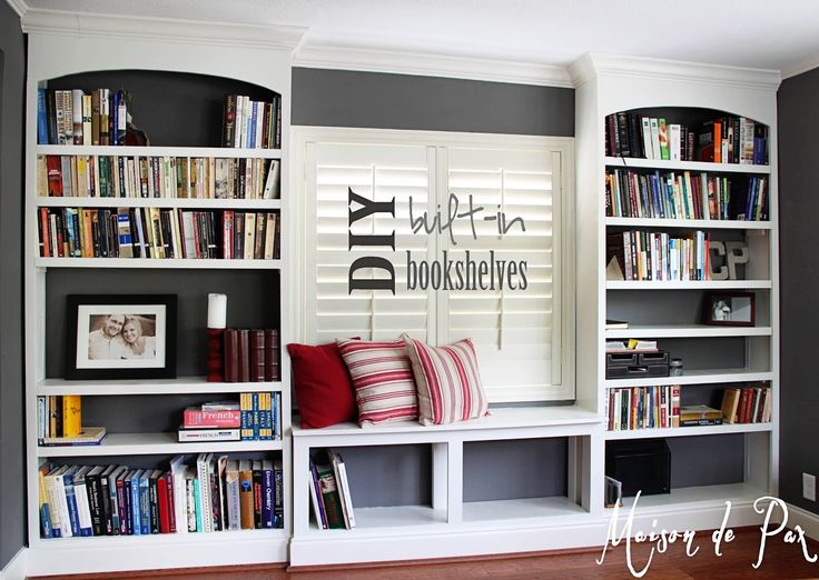 DIY Built In Bookcases | ... finally finished! I give to you our new office built-in bookshelves