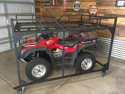 This is an ATV Storage Rack that will save you valuable garage space!  This Rack allows you to store two full size ATVs in the same space that one would take up in your garage.  This Storage Saving ATV Rack is made of heavy duty steel and can support the largest ATVs.  The Rack sits on 4-1200 pound casters that lock and unlock very easily with your toe.  The casters roll easily, allowing you to maneuver the Rack anywhere you need to, even with a full sized ATV on it!  This Storage Saving ATV…