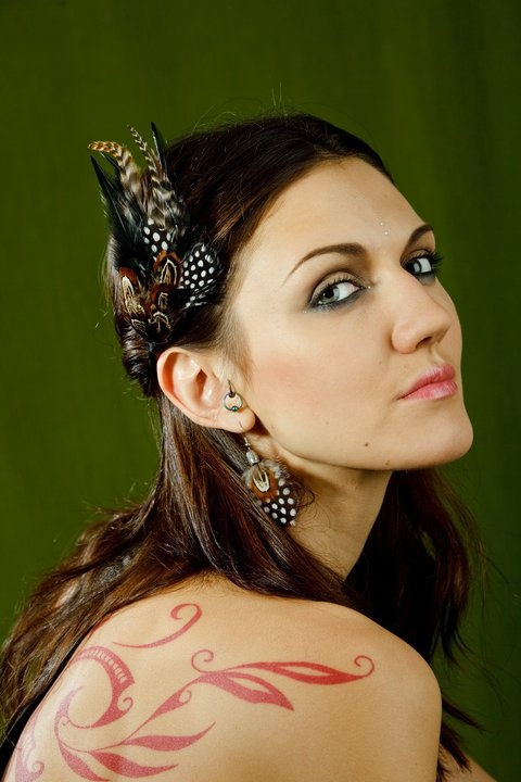 Gorgeous Zhanna in hairclip and earrings from feathers of  guinea fowl, pheasant and rooster grizzly.