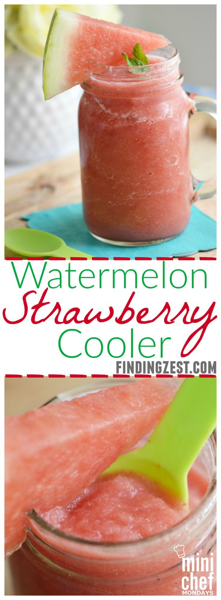 Watermelon Strawberry Cooler: Give this refreshing summer blender drink a try to cool off!