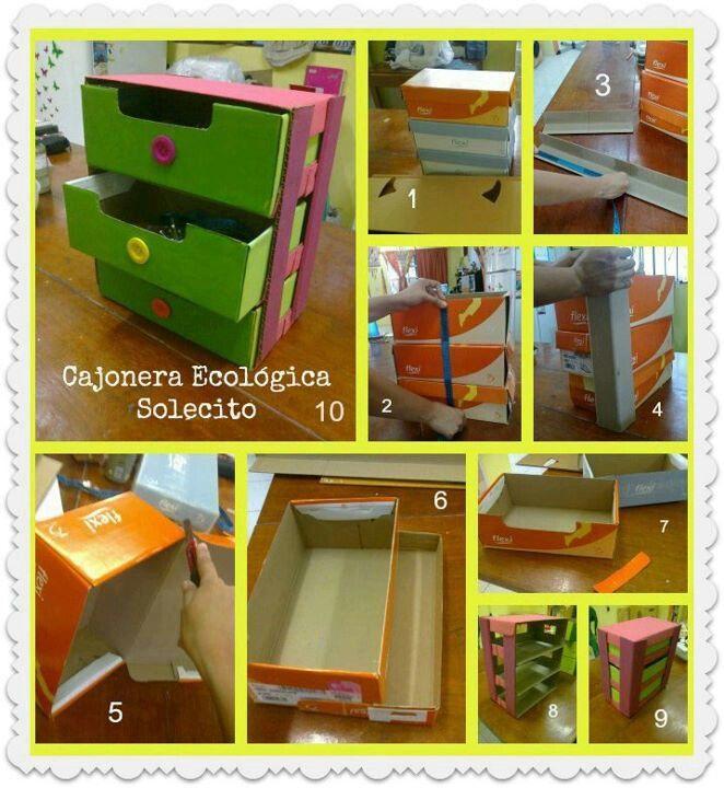 Cajonera con cajas de zapatos manualidades pinterest - Manualidades con cajas ...