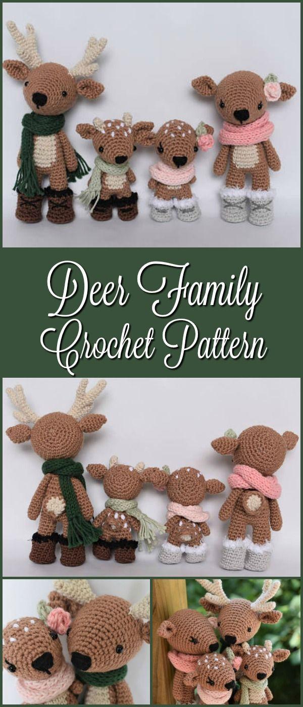 Deer Family Crochet Amigurumi Pattern / Photo Tutorial #etsy #crochet #patterns #amigurumi #ad #pdf