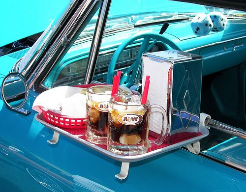 Drive-ins with the tray on the window.  Miss that tray on the window! Brings back memories!