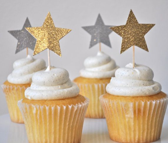 Glittered Star Cupcake Toppers