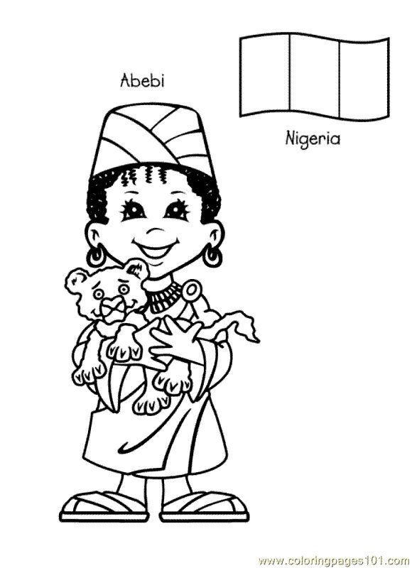 Free Printable Coloring Page Kids From Around The World 022