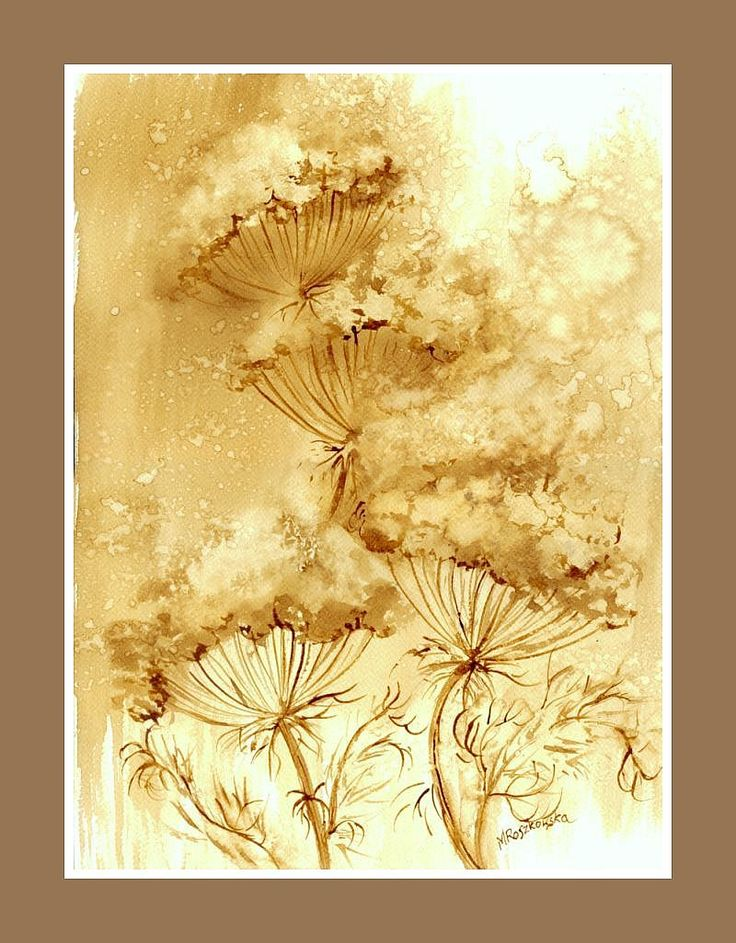 Baldachy -  watercolour painted with coffee  http://www.artmarylacoffee.pl/