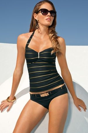 Boston Proper Metallic stripe tankini #bostonproper ...