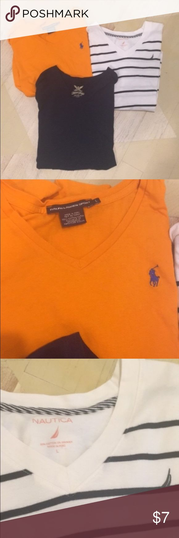 Bundle 3 v-neck tees All 3 are size large but for more like a medium The orange tee is Ralph Lauren  The navy tee is Faded Glory The navy and white stripped is Nautica All three have been worn but are in good condition. Only selling as a bundle Let me know if you want any individual pics or any more detailed pics Ralph Lauren Tops Tees - Short Sleeve