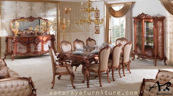 Set Meja Makan Jati Klasik Furniture Terbaru