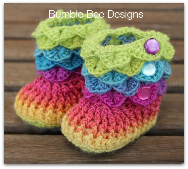 Crochet Crocodile Stitch Groovy Baby Booties green, blue, hot pink size 6-12 months