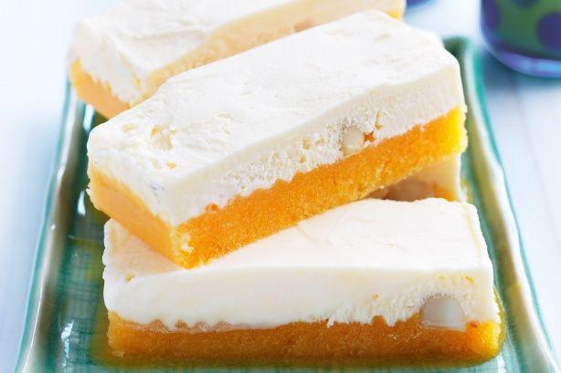 Beat the heat with a frosty treat of peach macadamia ice-cream bars.
