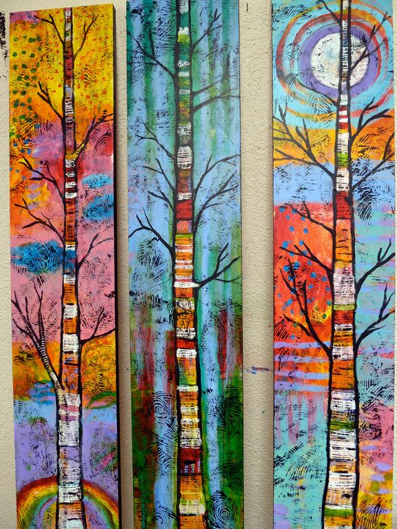 Peace Art Studio - Love these colorful paintings of trees!
