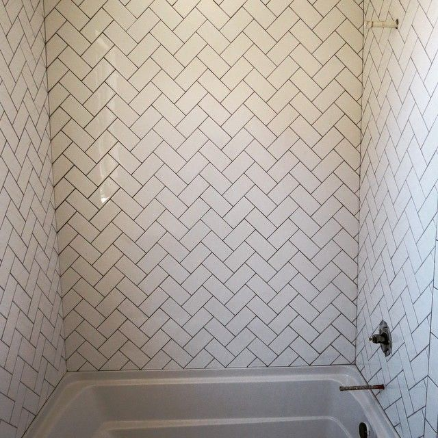 I decided to do a white 3x6 subway tile but lay in a herringbone pattern in my lil cj 39 s bath i Bathroom wall tiles laying designs