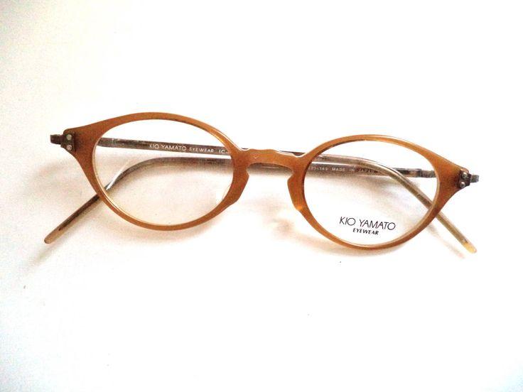 Kio Yamato Cateye Eyeglasses Frames Honey Horn Rim Antique Gold Made in Japan New Old Stock 45-21 Womens Glasses IC-111, retro mod glasses by MushkaVintage3 on Etsy