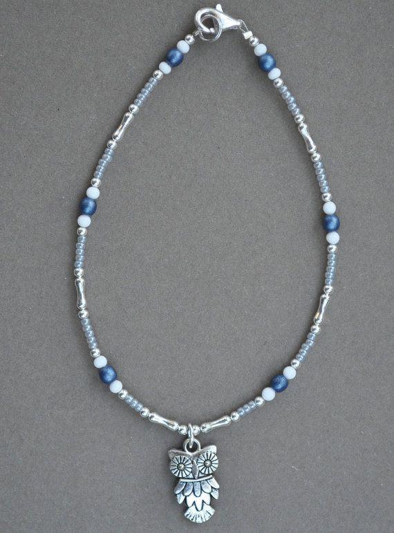 Jewelry - Anklets - Blue Owl Anklet  by JewelryArtByGail on Etsy
