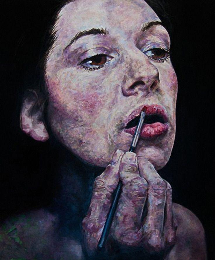 """Amanda's Lips"" - Nick Ward (British, b. 1950) {figurative expressionist art female head woman face portrait textured painting} nickwardonline.com"