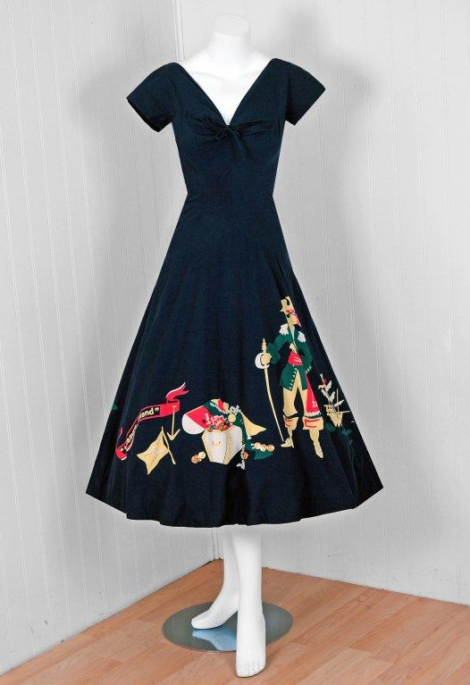1940's Treasure Island Novelty Print Sun Dress