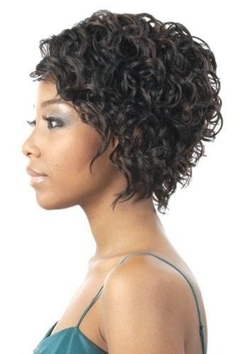 Premium synthetic wig Simple Cap Wig Cannot be curled/flatironed One size fits all  SIMPLE CAP CURLY SHORT SHAG UNBALANCED SIDE
