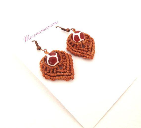 Brown earrings ethnic  macrame tribal earrings di morenamacrame