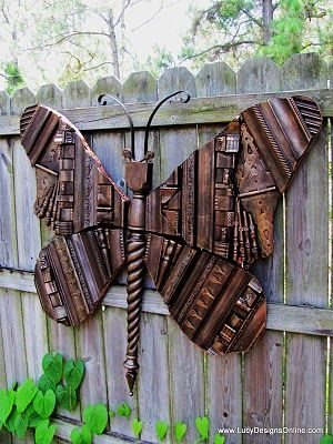 Made of picture frame moulding, hinges, keys, a staircase spindle, washers, casters, etc.Ideas, Wooden Butterflies, Frames Moldings, Gardens Art, Picture Frames, Yards Art, Old Pictures Frames, Crafts, Giants Wooden
