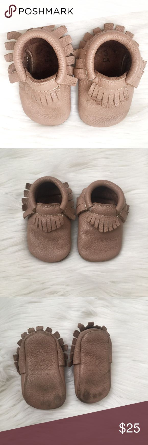 Freshly picked brown size 3 baby moccasins These moccasins are in great condition. Little bit of wear on the bottom, but still in perfect functioning order. Feel free to mark me an offer or bundle for 10% off! Freshly Picked Shoes Moccasins