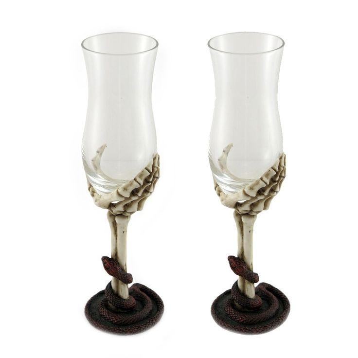 Undeadly Desserts Serpent Skeleton Hand Port Wine Glass Set of 2, Clear