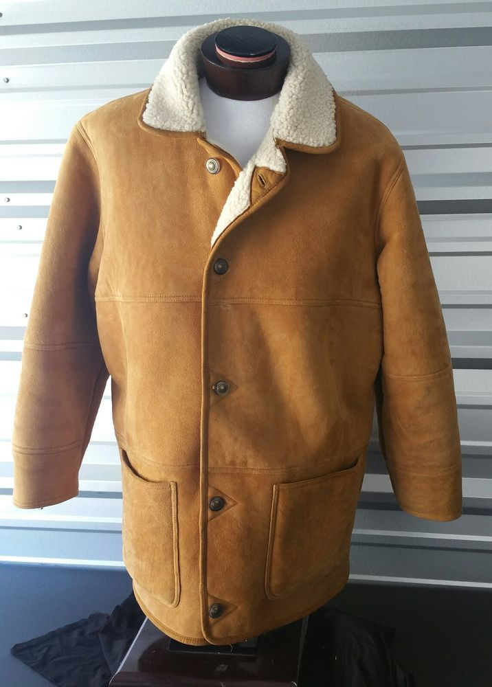 Vtg LL Bean Shearling Sheepskin 100% Leather Marlboro Man Ranch Coat Mens Large | Clothing, Shoes & Accessories, Vintage, Men's Vintage Clothing | eBay!