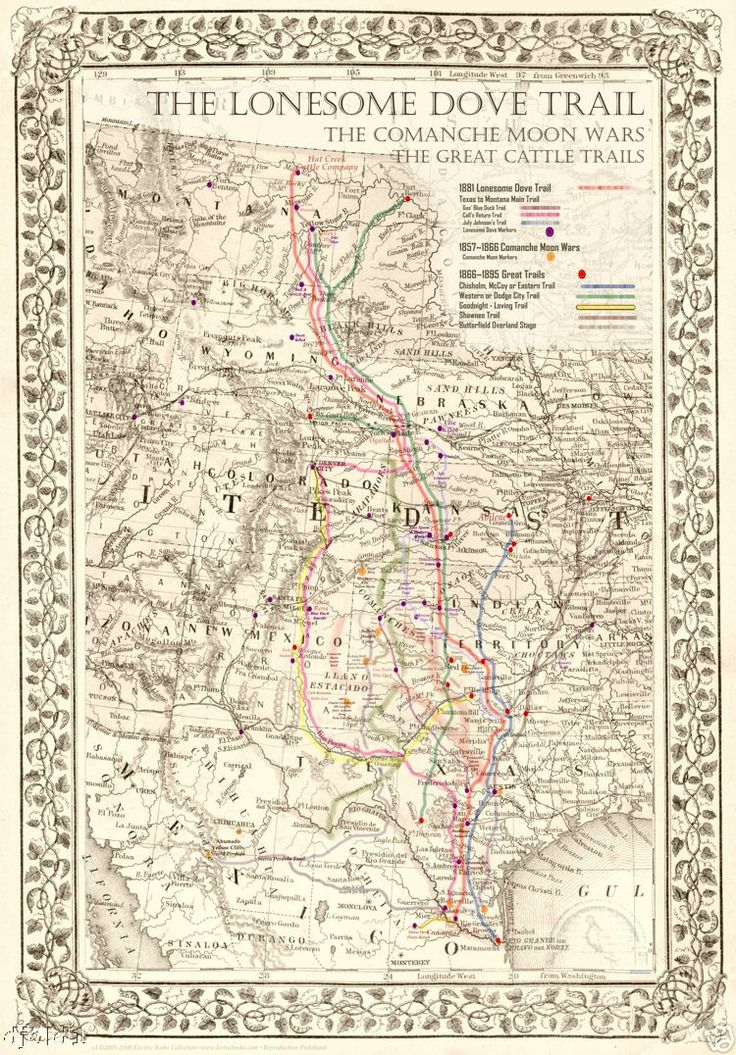 The Lonesome Dove Comanche Moon Great Trails Map 20 Quot X16