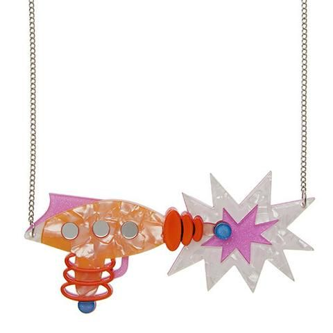 """Erstwilder Limited Edition Roxy's Ray Gun  Necklace. """"The latest in laser technology. Don't worry, this baby is always set to stun. Erstwildlings always come in peace."""""""